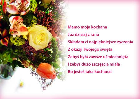 Kwiaty Z życzeniami Dla Mamy życzenia Na Dzień Matki