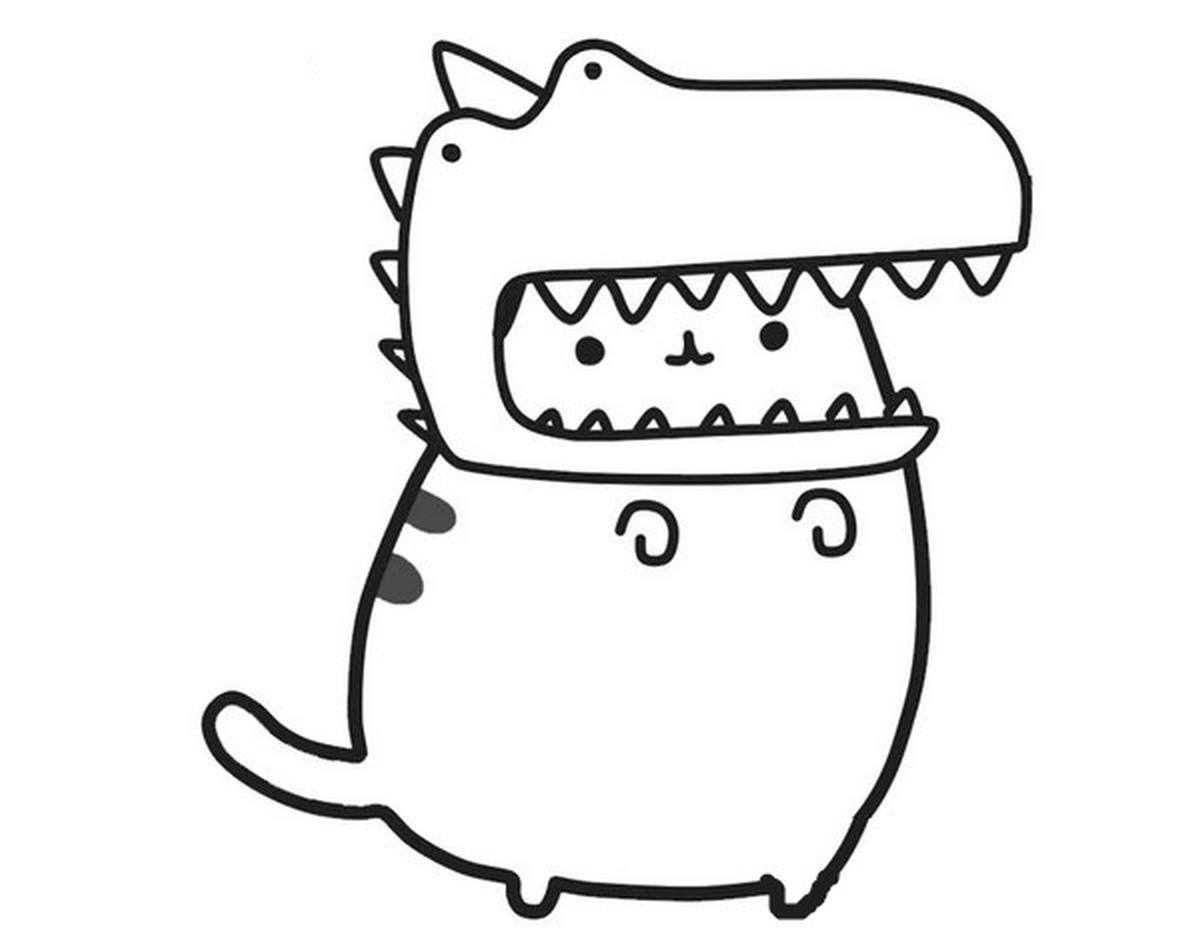 Kolorowanka Kot Pusheen Przebrany Za Dinozaura Kolorowanki Pusheen Gifyagusi Pl