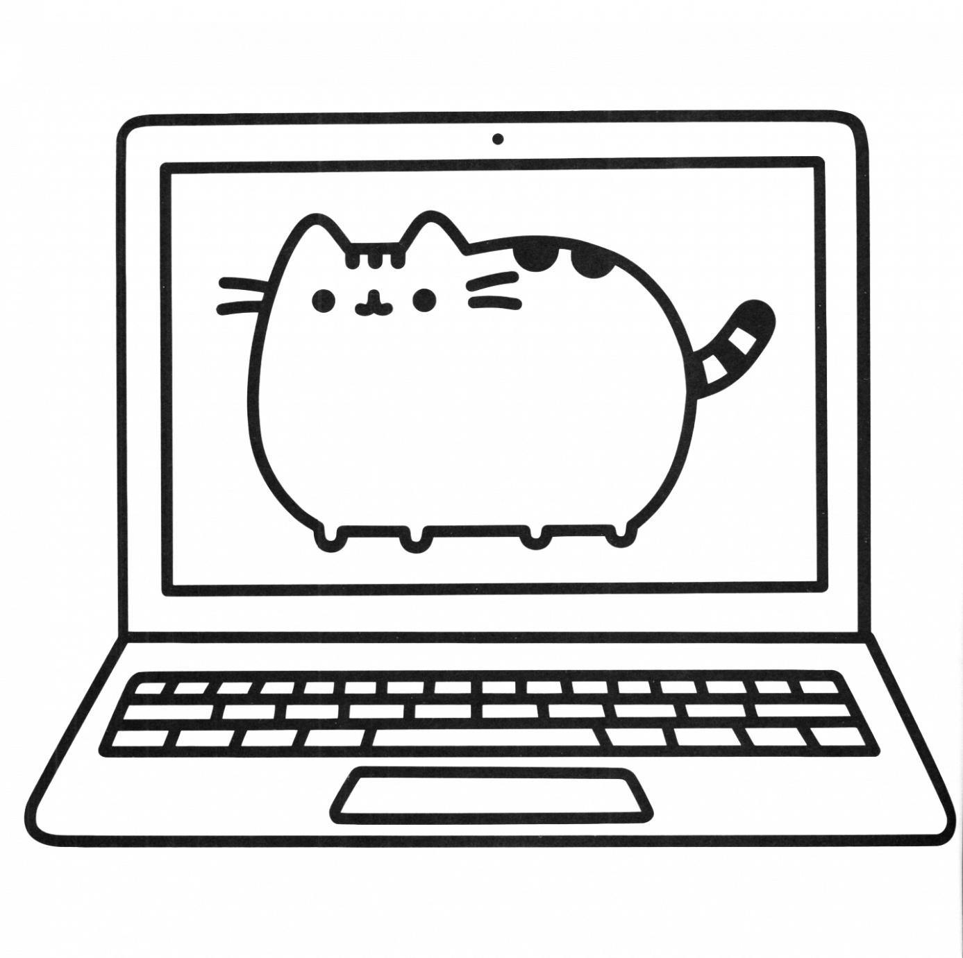 Kolorowanka Kotka Pusheen W Laptopie Kolorowanki Pusheen Gifyagusi Pl